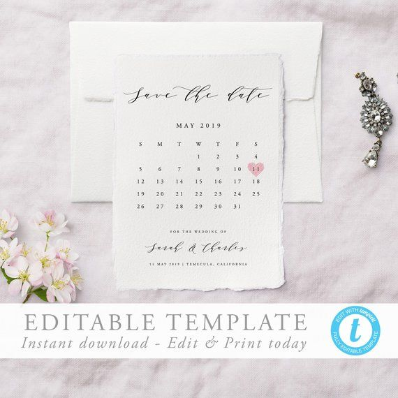 Calendar Save the Date Template Printable save our date invitation