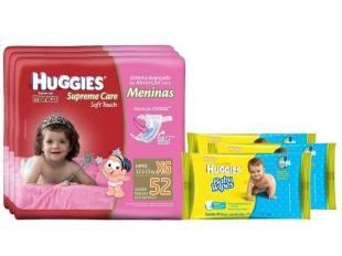 Fraldas Huggies Turma da Mônica Supreme Care - Meninas XG 3 Pacotes + vLenços Umedecidos Huggies