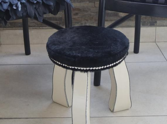 Superb Elegant Wooden Stool Upholstered With Black Soft Fur Creativecarmelina Interior Chair Design Creativecarmelinacom