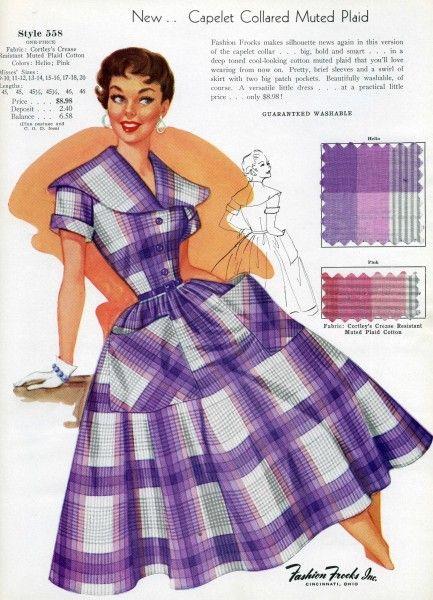 1950s vintage purple plaid dress color illustration vintage fashion style print ad model full skirt day wear