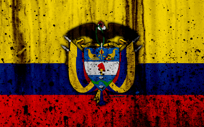 Download Wallpapers Colombian Flag 4k Grunge Flag Of Colombia South America Colombia National Symbols Coat Of Arms Of Colombia Colombian Coat Of Arms C Colombia Flag Colombian Flag Coat Of Arms