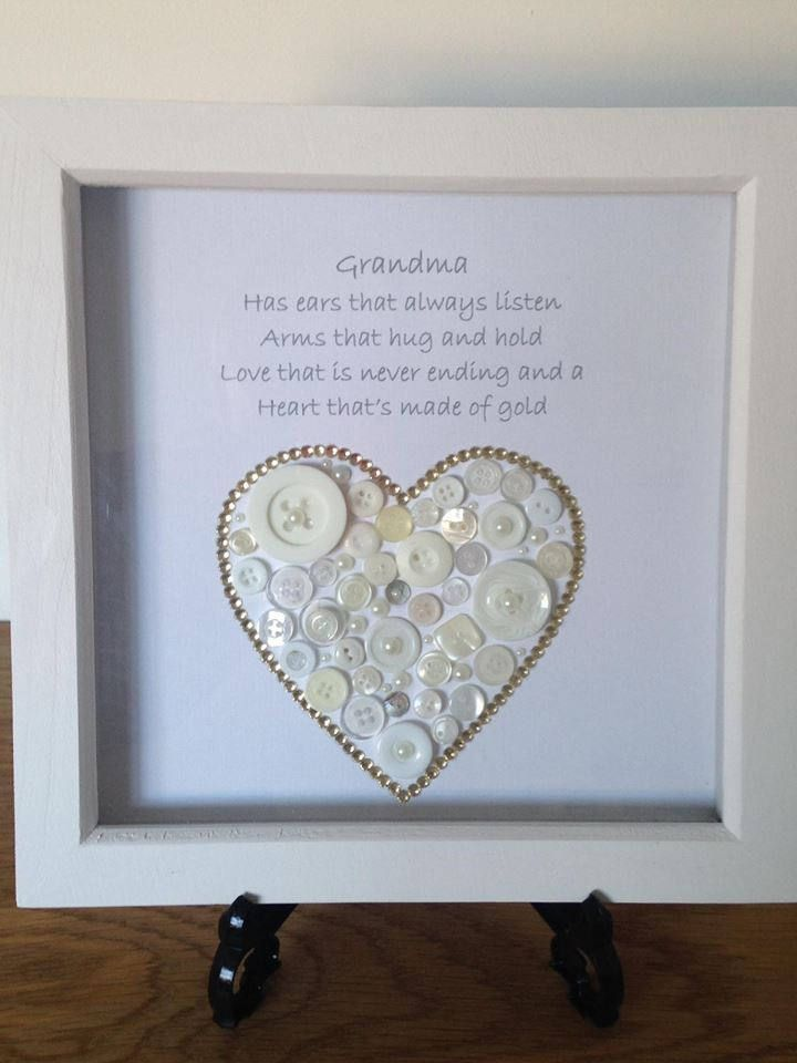 Grandma Button Art Design Heart Thats Made Of Gold Gift Nanny Nan Handmade Love You Birthday By ButtonArtBoutiqueUK On Etsy