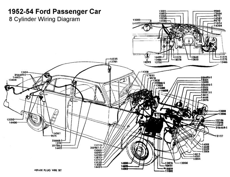 Wiring diagram for 1952-54 Ford (8 Cyl)