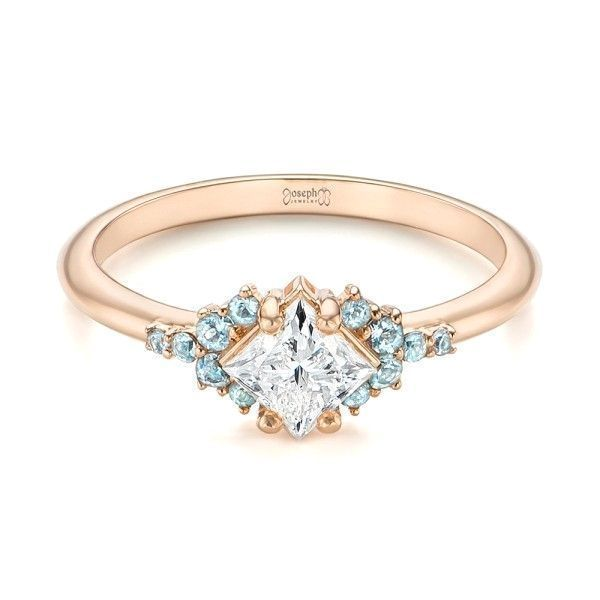 Custom Rose Gold Aquamarine and Diamond Engagement Ring Joseph