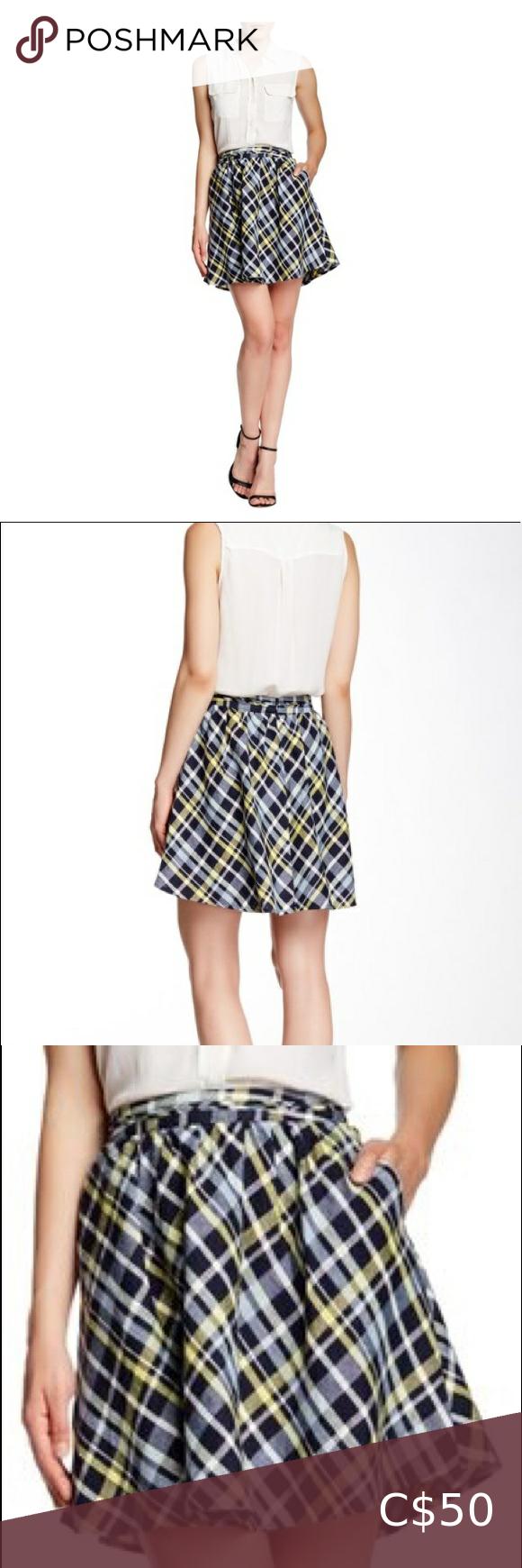 Blue-yellow Kaylea Plaid Linen Skater Skirt