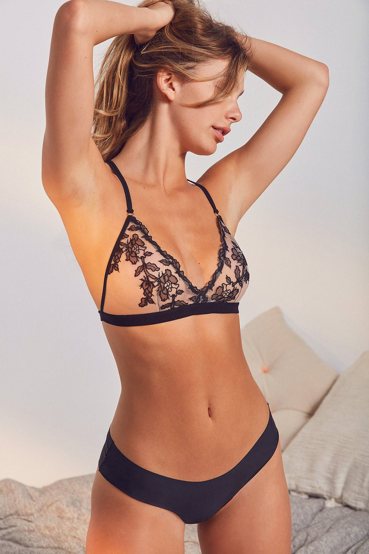 59e2570d6999b Shop Out From Under Gigi Floral Mesh Triangle Bra at Urban Outfitters  today. We carry all the latest styles