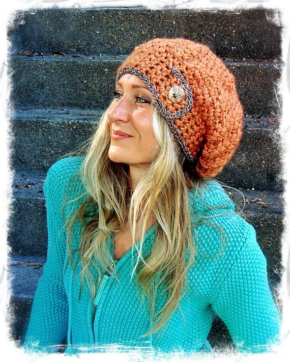 JUMBO SLOUCHY Beanie hat in Copper Crochet slouch hat by GPyoga, $53.00
