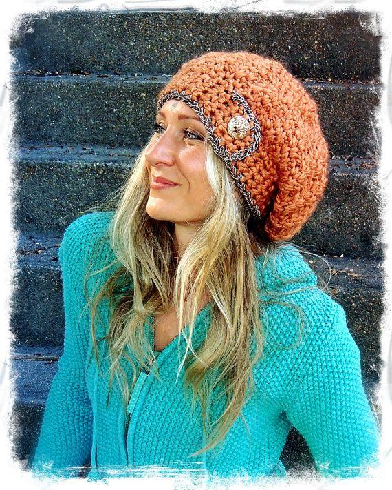 Copper tone SLOUCHY Beanie hat Crochet slouch hat TREE button Rusty ...