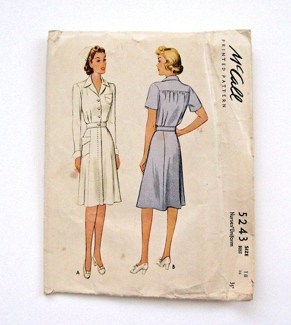 Vintage 1943 Traditional Nurse Uniform Pattern Mccall S 5243