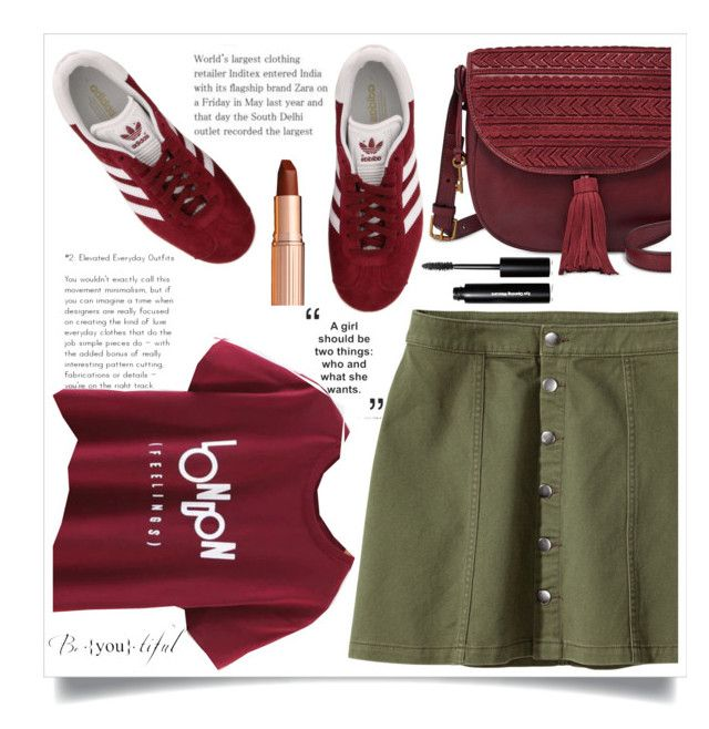 """Burgundy with Military Green Skirt"" by ashaleethornt ❤ liked on Polyvore featuring FOSSIL, H&M, adidas, Charlotte Tilbury and Bobbi Brown Cosmetics"