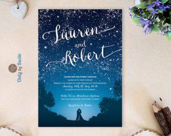 starry night wedding invitation set blue mountain by onlybyinvite - Mountain Wedding Invitations