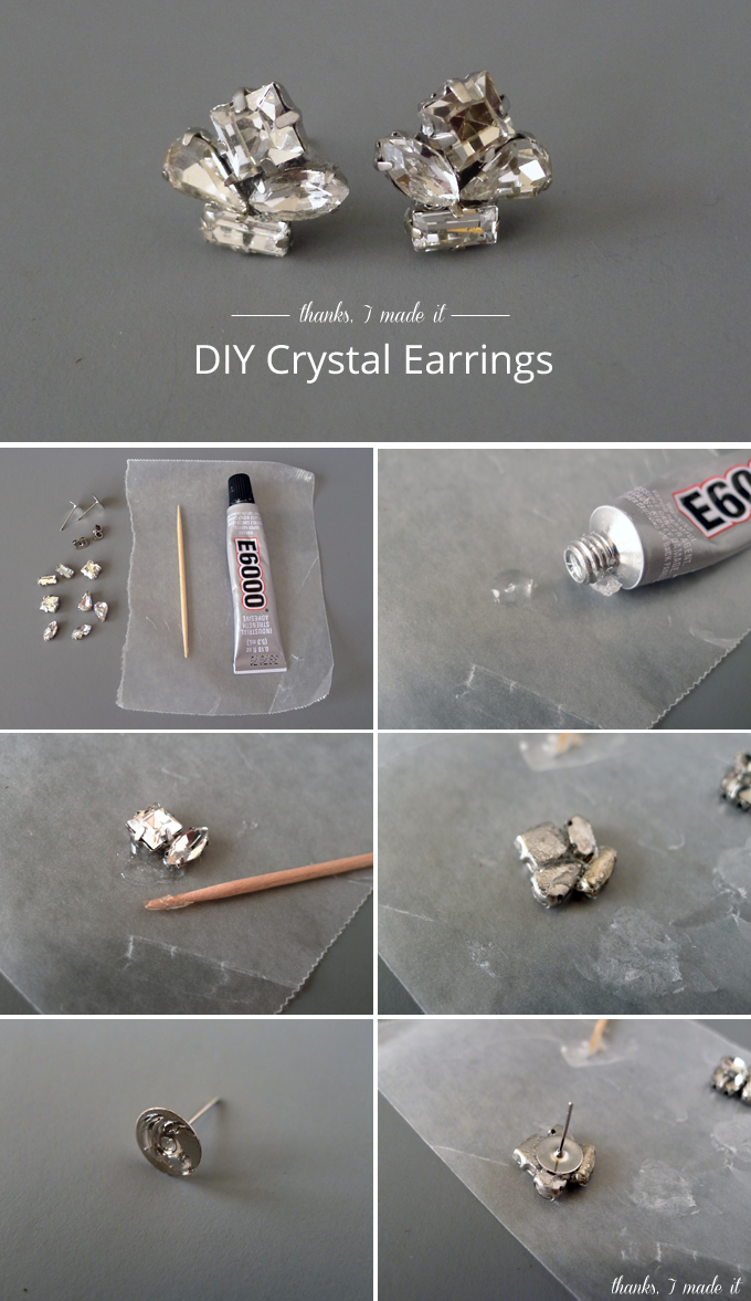 Diy Crystal Cer Earrings A Tacky Strong Glue Toothpick Wax Paper Rhinestones In Setting And Earring Backs Are The Materials That You Need To Make