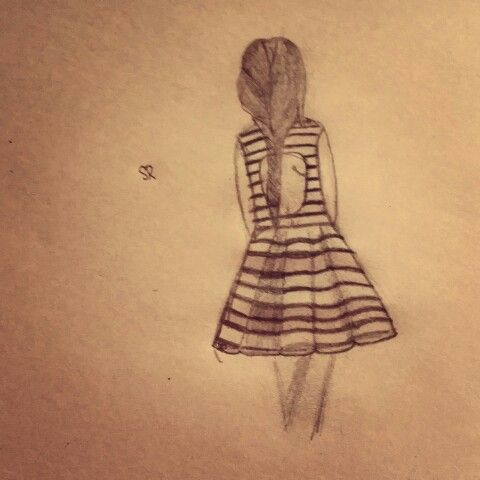 By sarah repp drawing pencil lady girl braid alome lonely