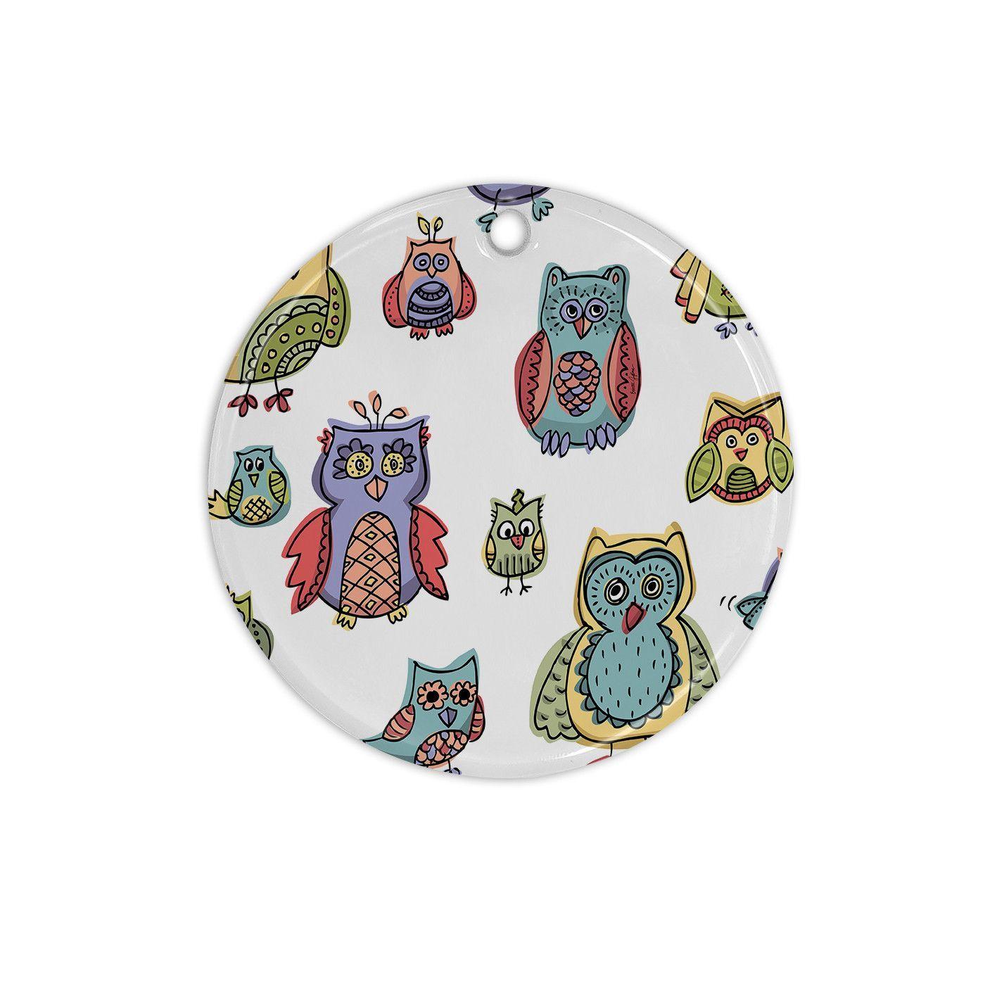 "Brienne Jepkema ""Owls""Ceramic Circle Ornament"