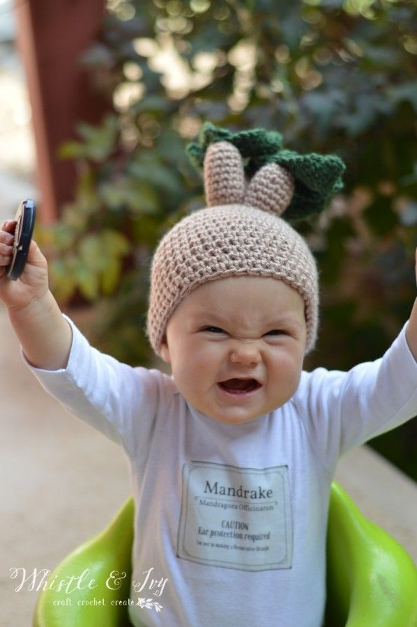 Crochet Mandrake Baby Hat - Get the free pattern for this fun Harry  Potter-themed halloween costume for baby. Plus cdf84d28df4