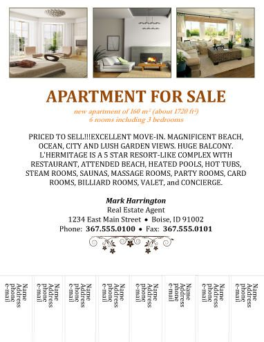 Apartment for sale tear-off - Free Flyer Template by Hloom - sample sell sheet