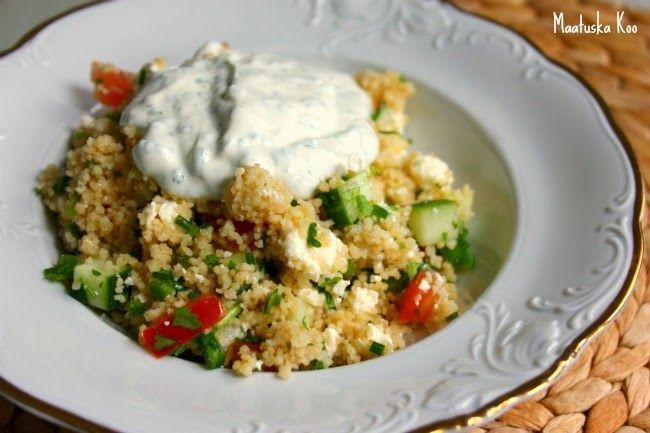 Maatuska Koo: Feta-couscous salaatti ja jogurttikastike