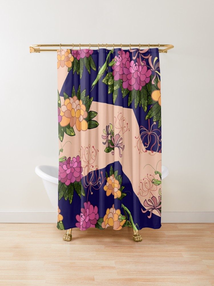 Mantis And Peony On Navy Shower Curtain By Patternsbymira Oriental Design Curtains Peonies