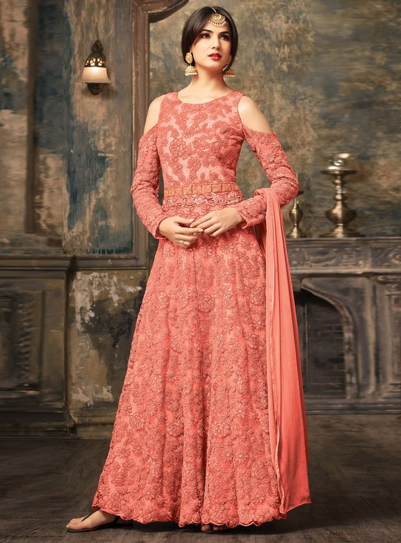Sonal Chauhan Peach Net Ankle Length Anarkali Suit With Cold ...