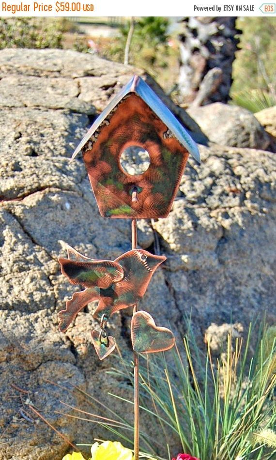 copper garden art. SALE Bird House Garden Stake, Yard Art, Metal Copper Art U