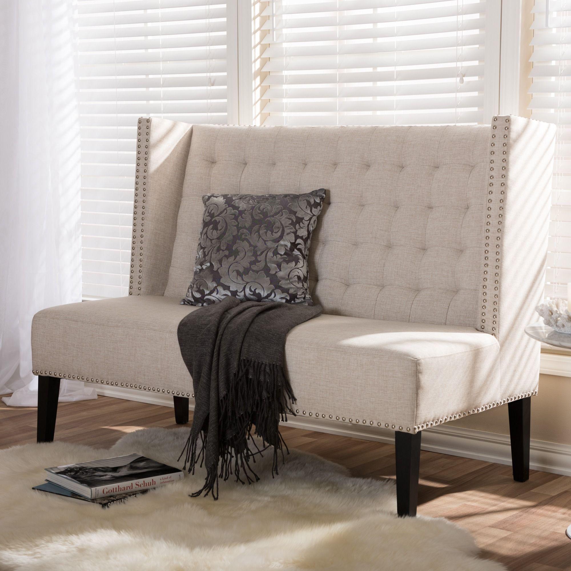 Superbe Owstynn Beige Linen Modern Settee Bench