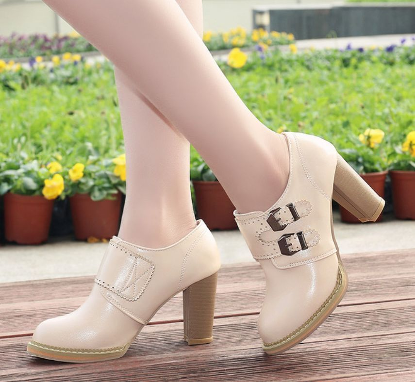 Womens Buckle Ankle Boots Round Toe Casual  Plus Size  Faux Leather  Shoes