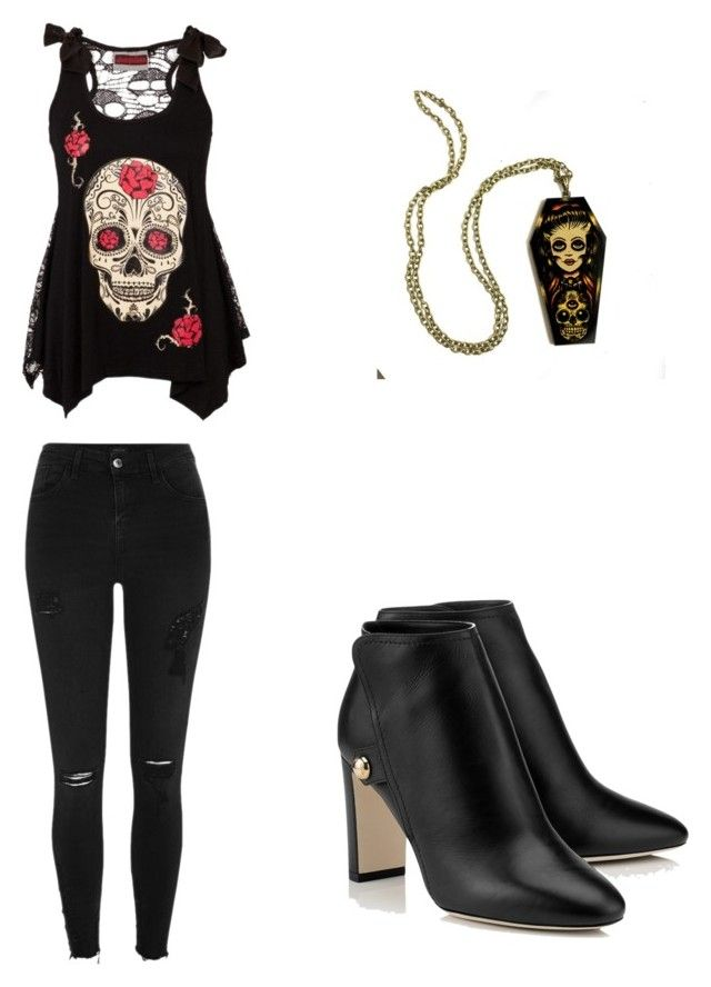 """Day of the dead"" by nibertalyssa ❤ liked on Polyvore featuring beauty and River Island"