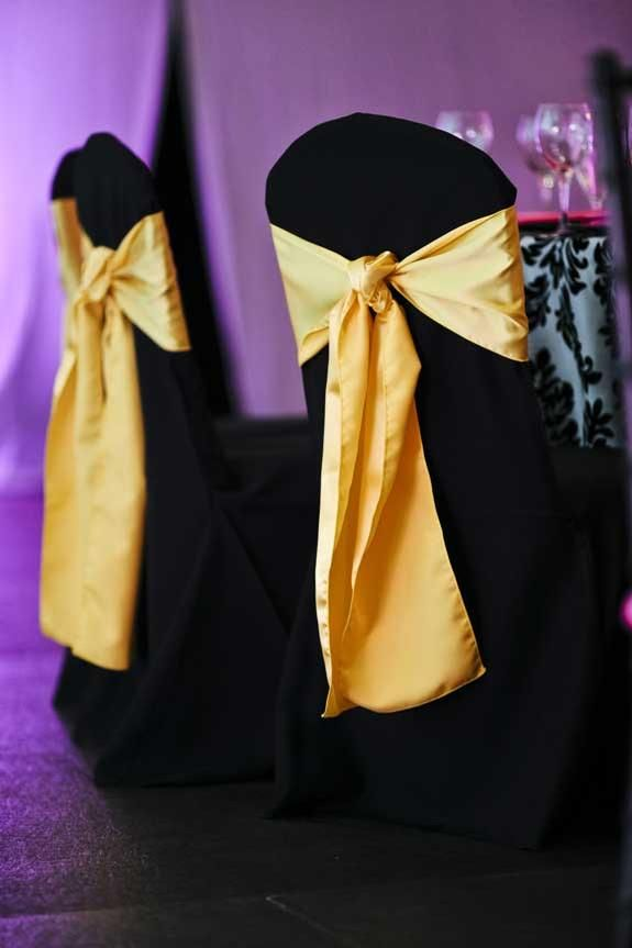Black Poly Chair Cover With Yellow Gold Satin Ribbon