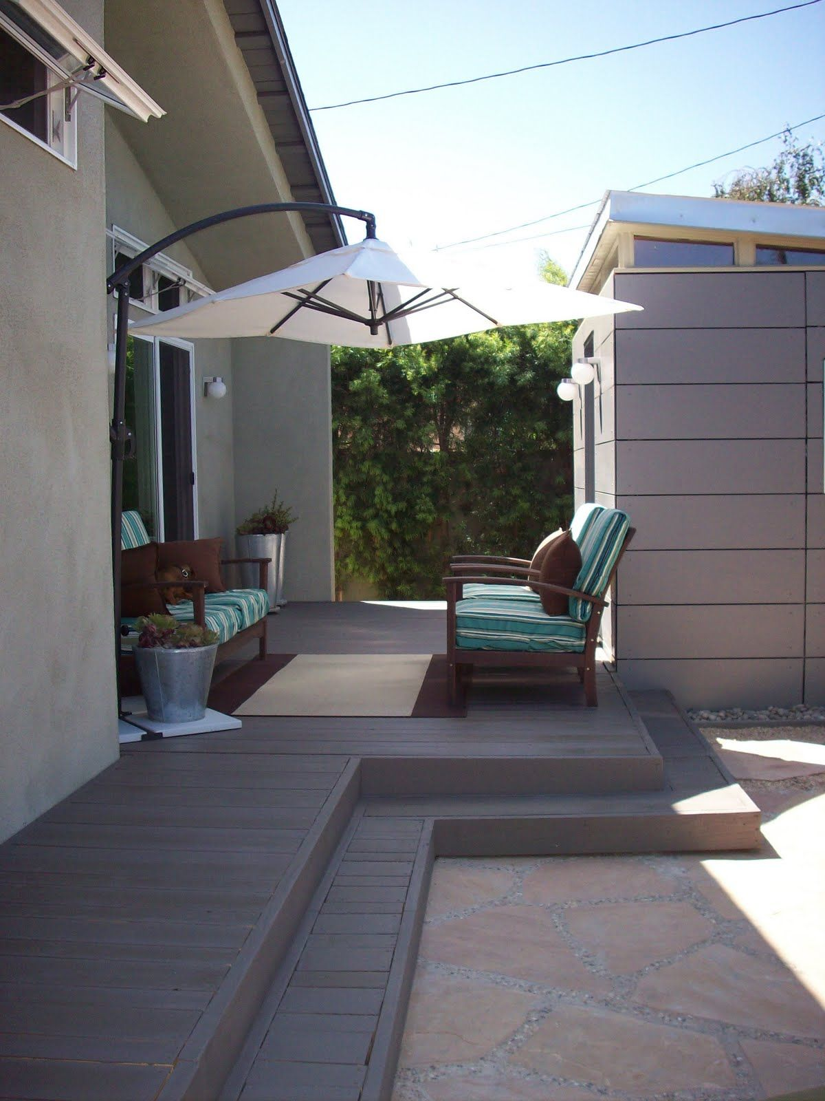 All Done! Outdoor living deck, Platform deck, Deck steps