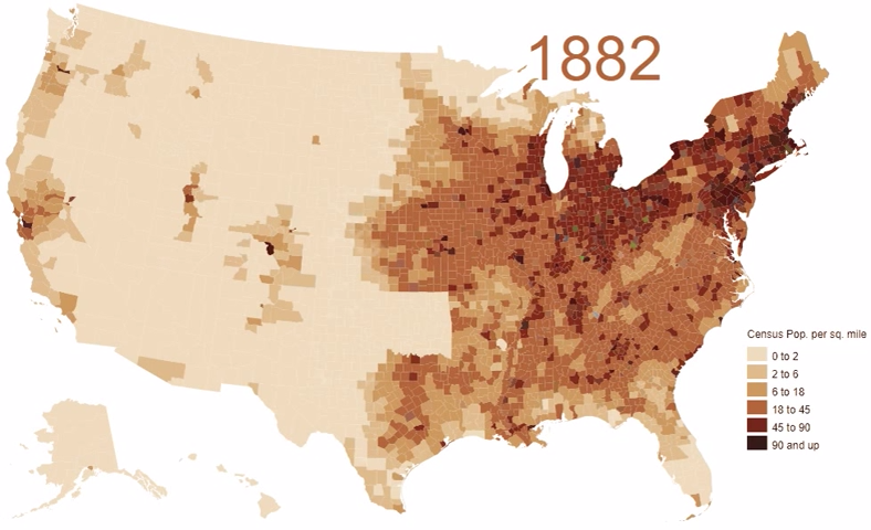An Animated Map Visualizing The Enormous Population Growth Of The United States Between 1790 And 2010 Map Visual Danish Cord
