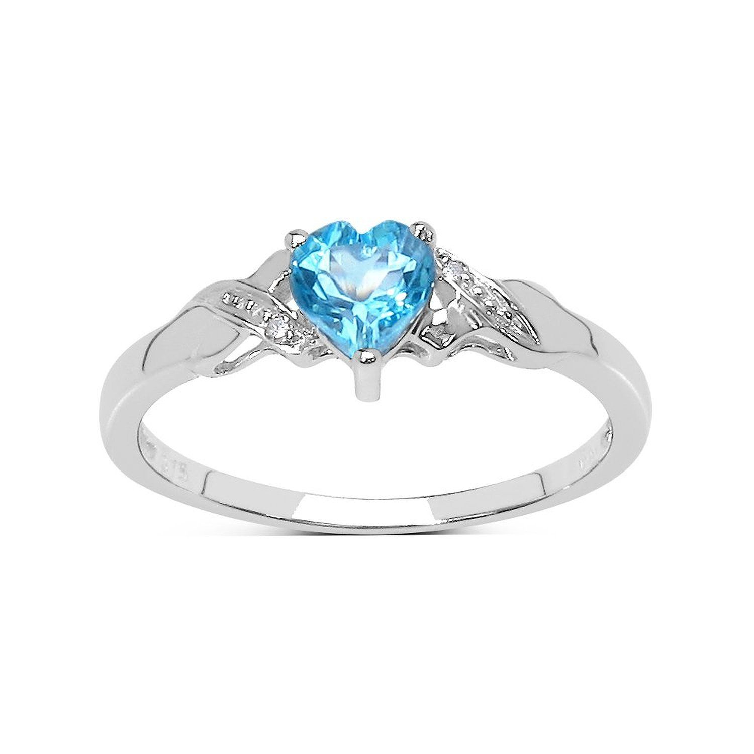 8534e86d61f Collection Bague topaze bleue   9ct or blanc en forme de coeur ...