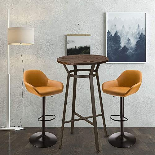 New Glitzhome Rustic Steel Bar Table Round Wood Top Dining
