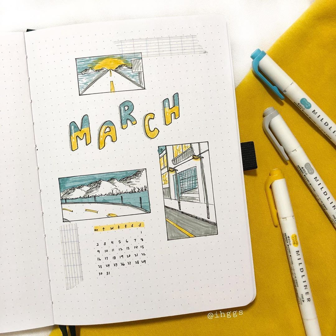 "christie iggs • bullet journal on Instagram: ""✨ march 2020: road trip sights and scenery! 🌊🏙🌙🌃 This month I'm challenging myself to doodle different scenes from a typical road trip thru…"""