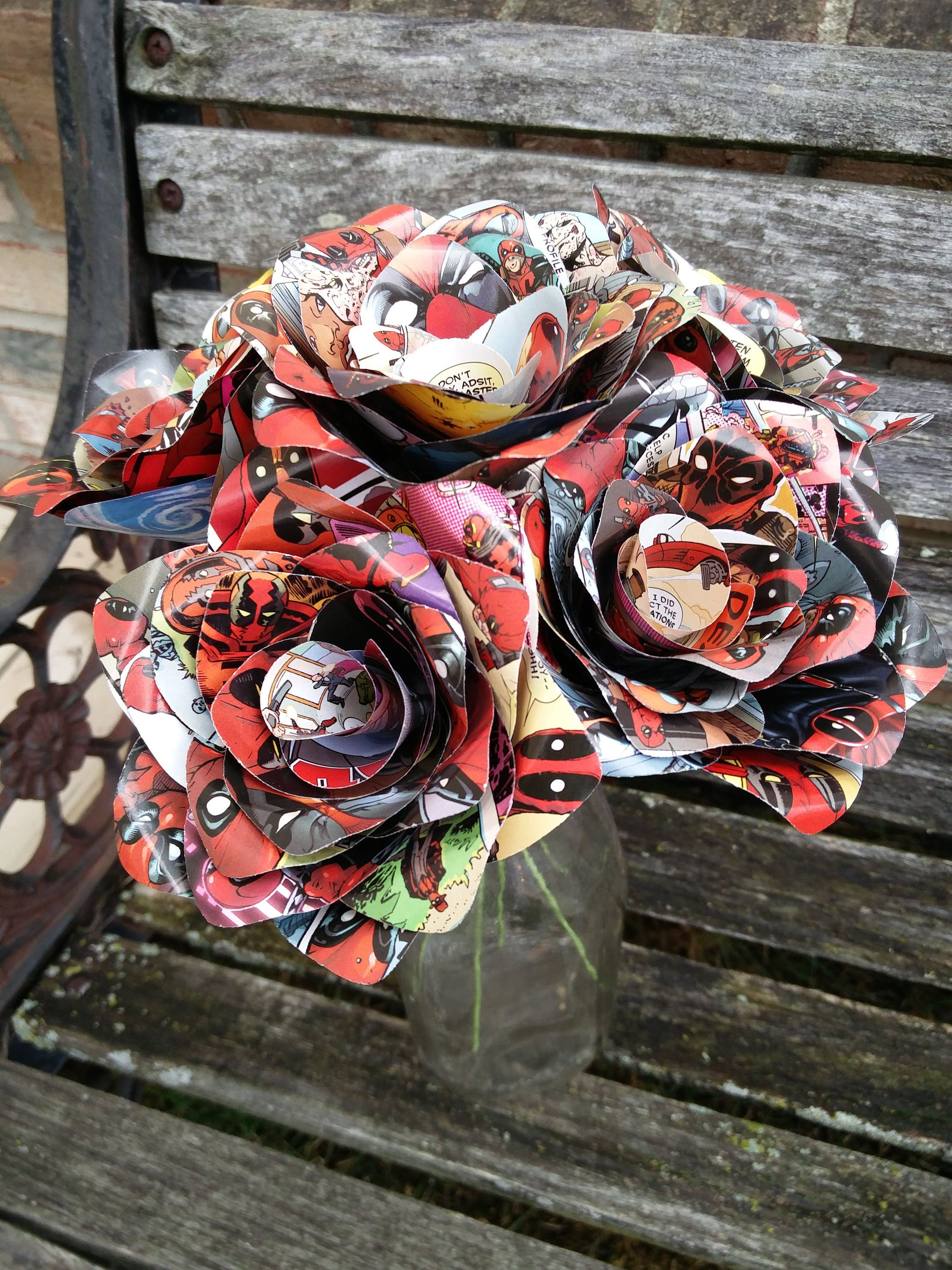 Comic Roses Paper Flower Bouquet First Anniversary Home Decor