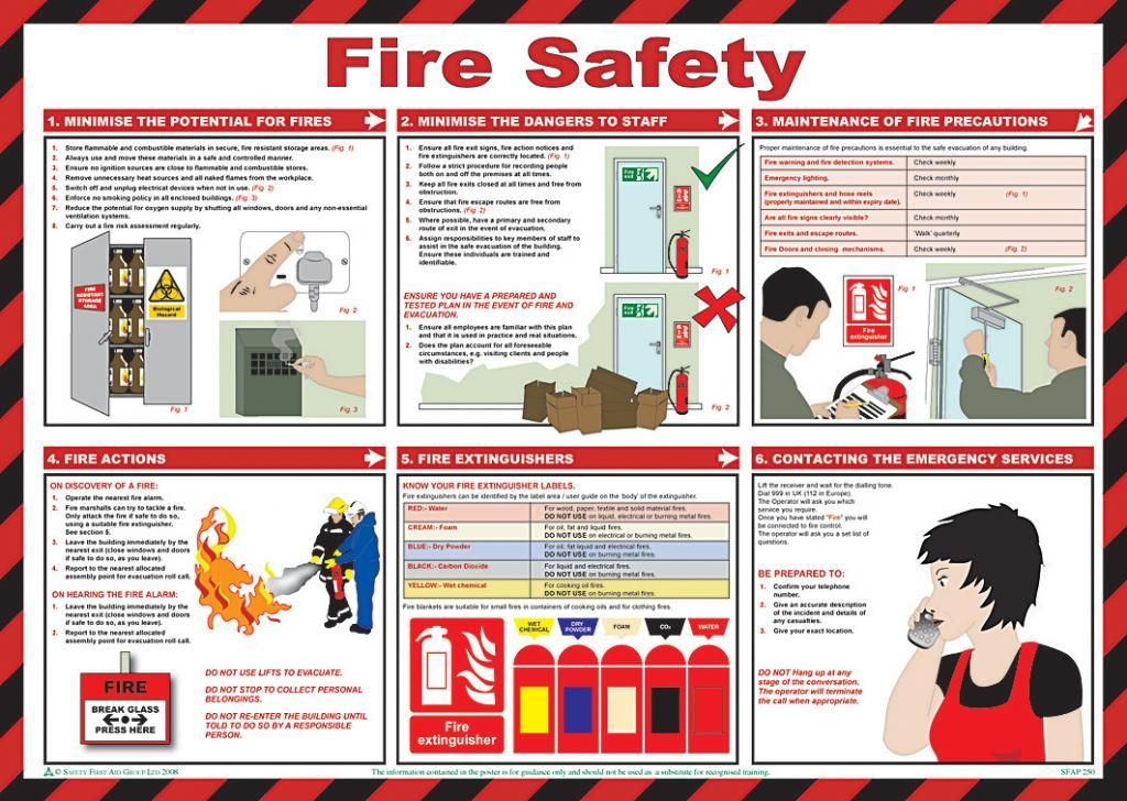 Fire safety poster laminated 59cm x 42cm fire safety