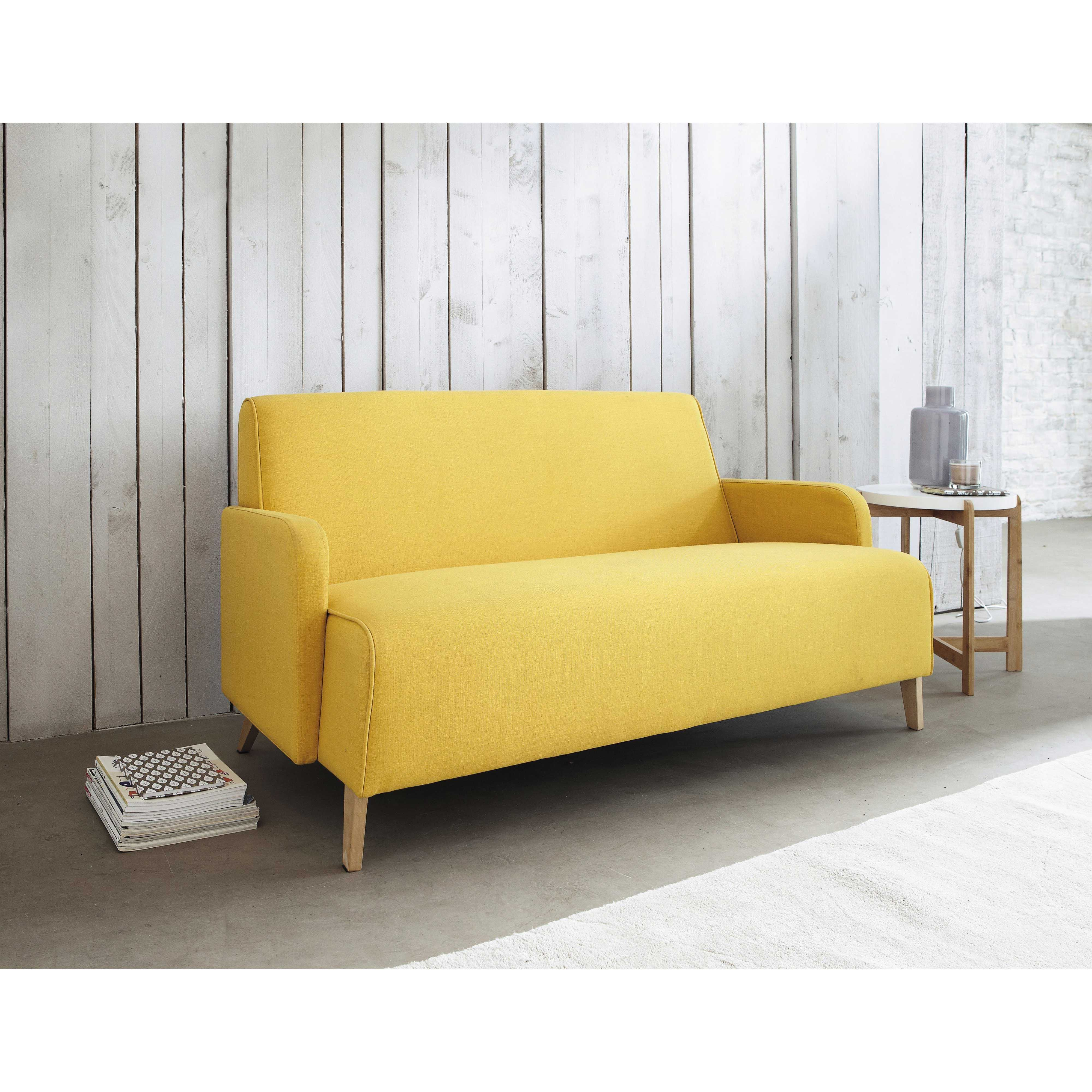 canapé 2 places en tissu jaune adam | maisons du monde | mdm ... - Chaise Tulipe Maison Du Monde 2