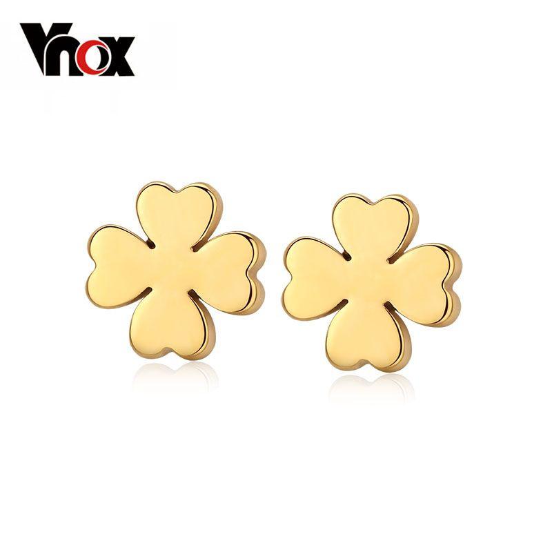 Vnox clover leaf orecchini per le donne in oro colore acciaio inossidabile piccolo brincos all'ingrosso