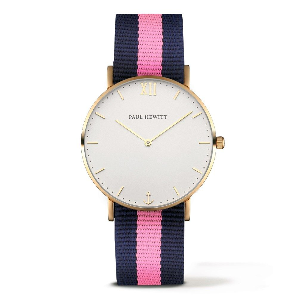 PAUL HEWITT Sailor Line Watch Gold White Sand Navy Blue- Light Pink PH-SA-G-Sm-W-NLP-20 - Kultatähti.fi verkkokaupasta