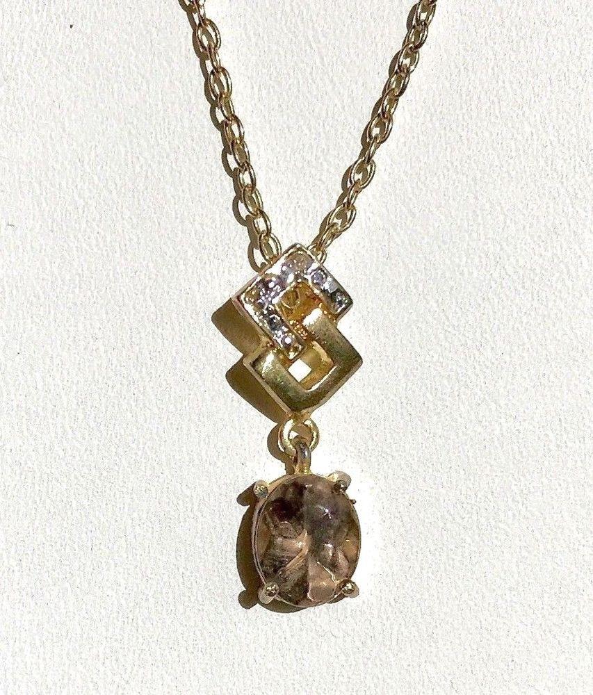 Vintage yellow u white gold plated smokey quartz and diamond chip