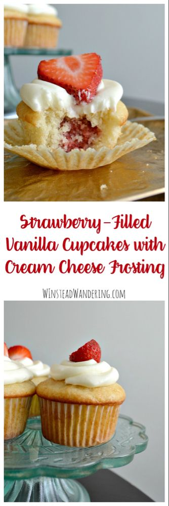 Strawberry-Filled Vanilla Cupcakes with Cream Cheese Frosting