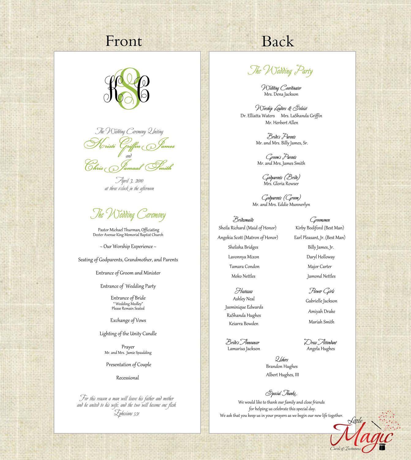 Printable Diy Wedding Programs Simple But By Littlemagiccards