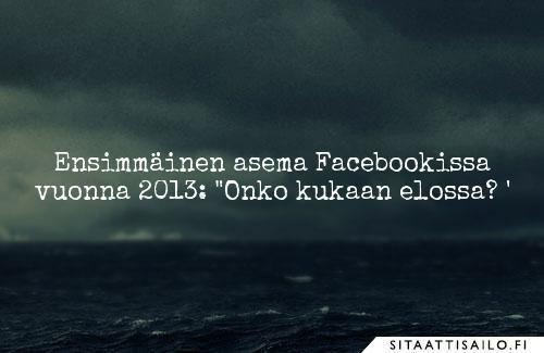 Ensimmäinen asema Facebookissa vuonna 2013: