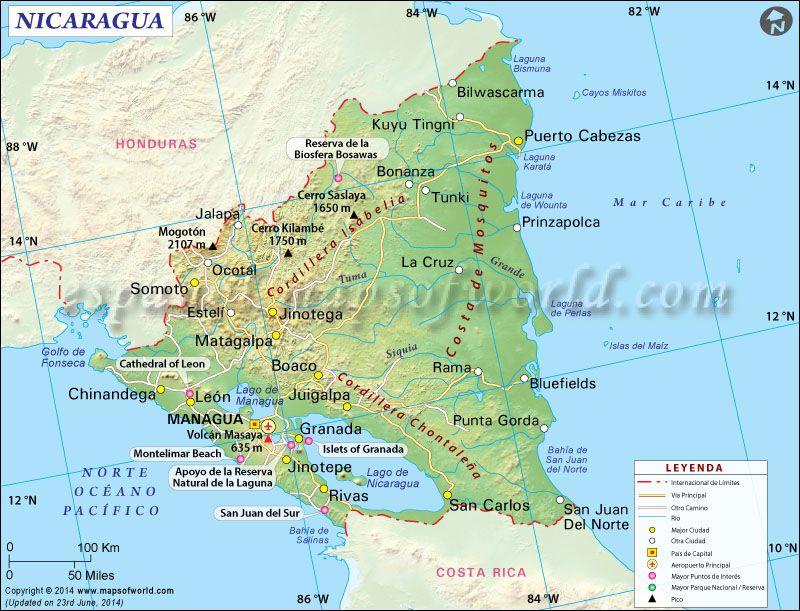 Mapa De Nicaragua Mapa Nicaragua Nicaragua Mapas Mapa Paises