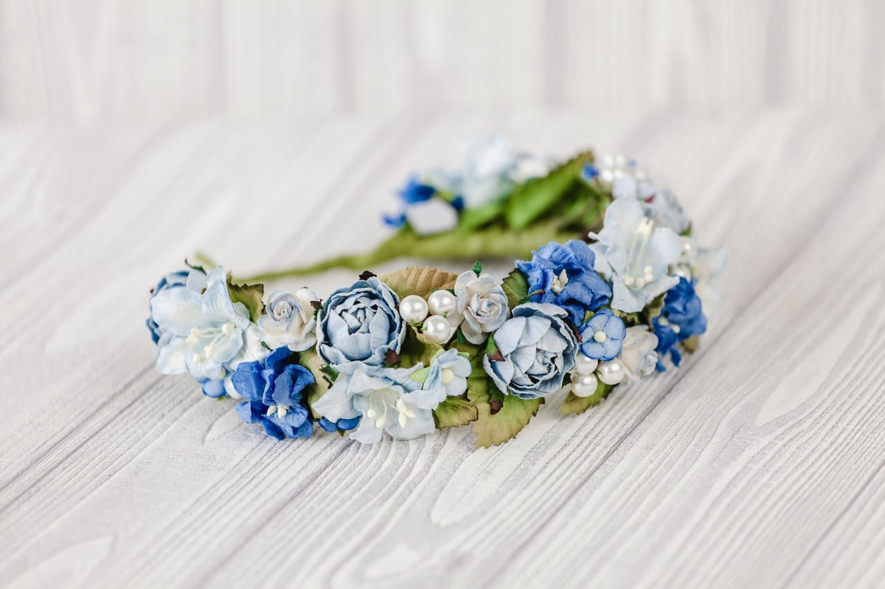 Blue flower headpiece blue flower crown wedding blue hawaiian blue flower headpiece blue flower crown wedding blue hawaiian flower crown floral wreath blue izmirmasajfo
