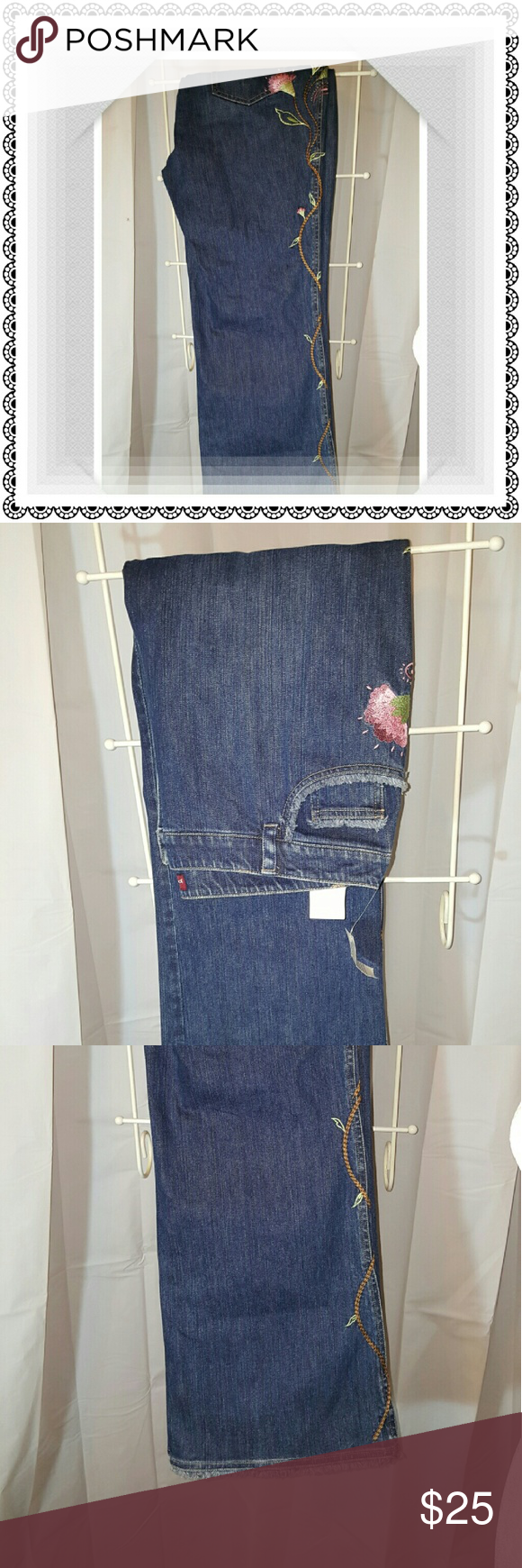 Flower embroidered jeans NWT | Pinterest | Jean jean, Size 16 and ...