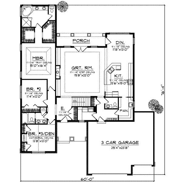 House Plan #70-728 Large pantry and mudroom. Double closets in ...