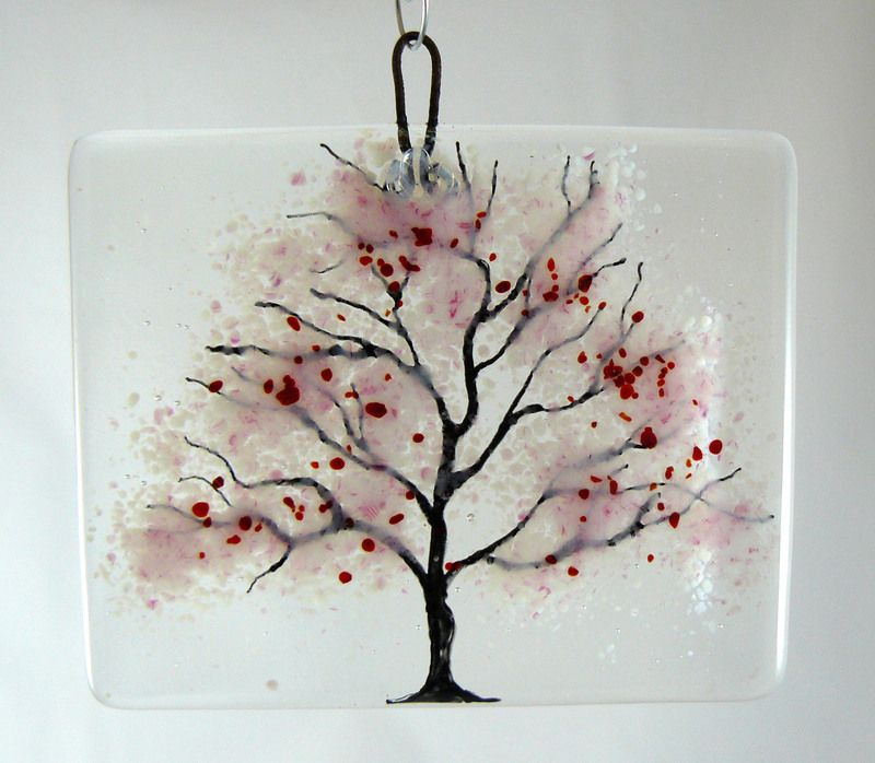 Young Cherry Blossom Tree Glass Hanging Plaque Cherry Blossom Tree Fused Glass Art Cherry Blossom