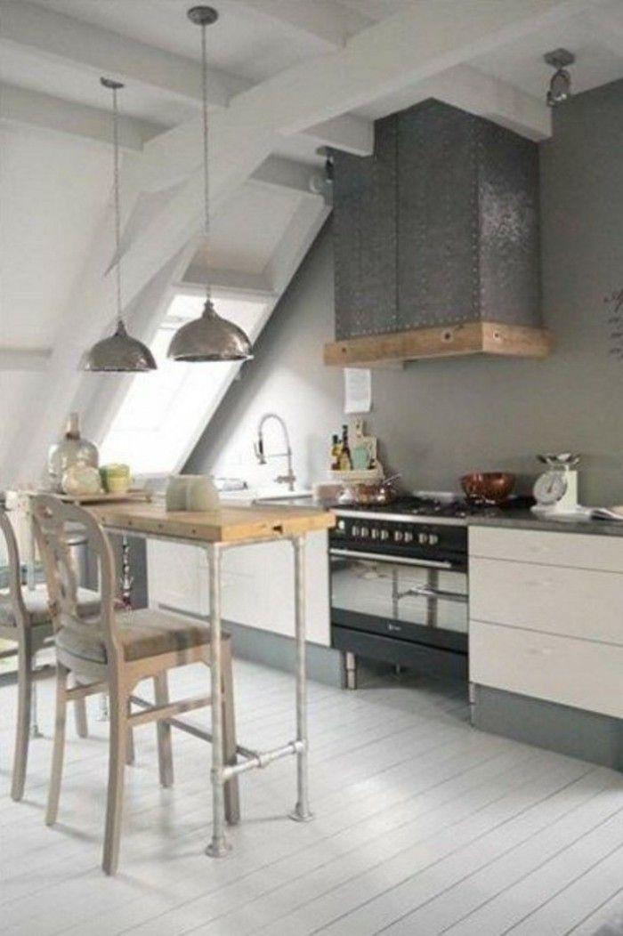 Dachgeschosswohnung kücheneinrichtung dachschräge deko ideen - küchen für dachgeschosswohnungen