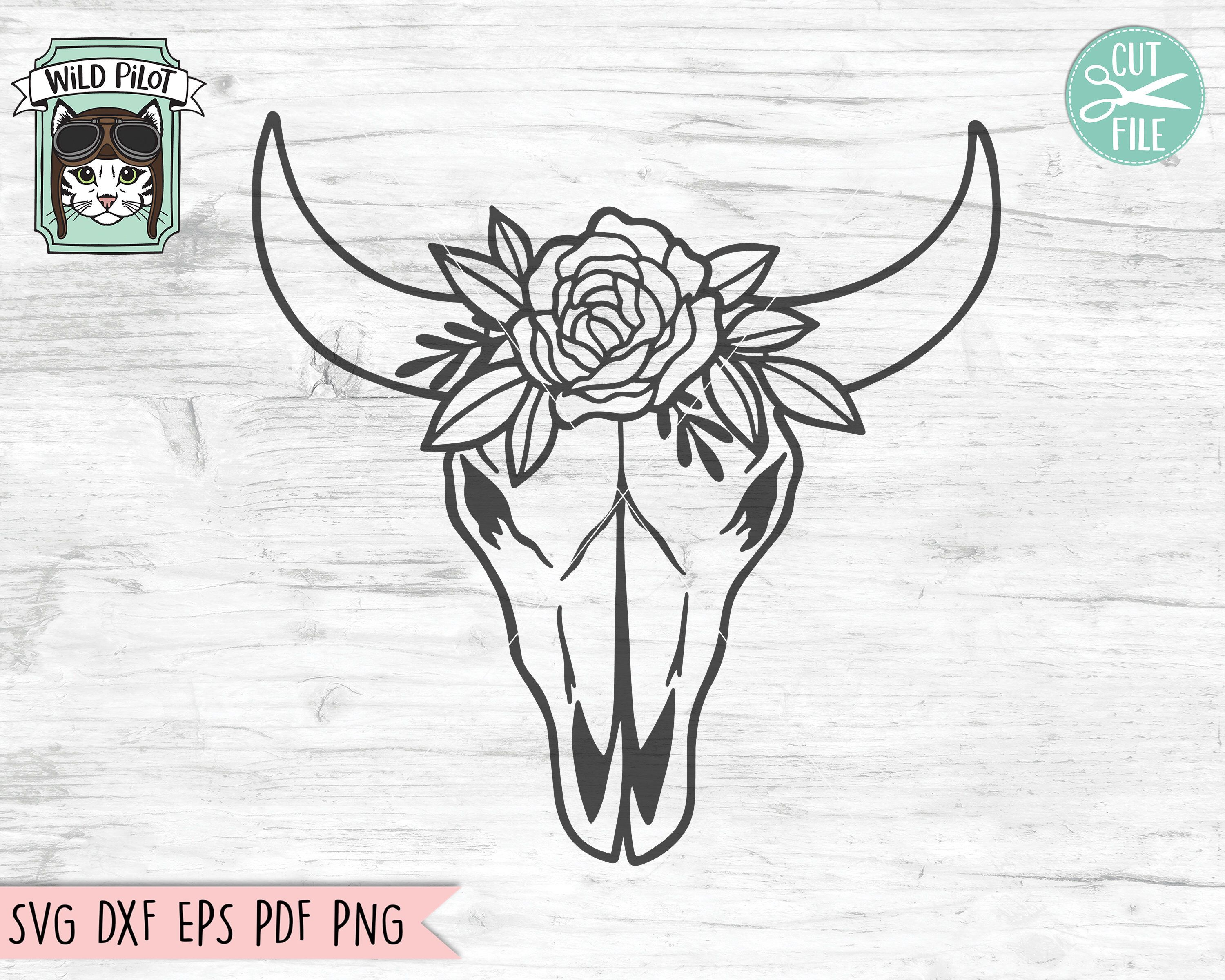Cow Skull With Flowers Svg File Cow Skull Svg File Cow Skull Etsy Cow Skull Rabbit Silhouette Skull Drawing