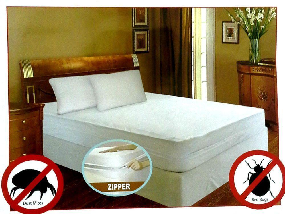BED BUG PROOF ~ Waterproof Zippered Vinyl Mattress Cover PROTECTOR